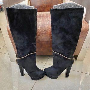 Black  platform heels over the knee boots 9 1/2